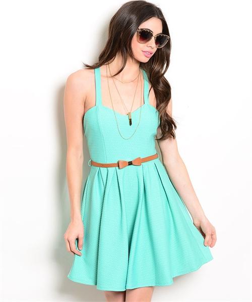 mint summer dress with belt